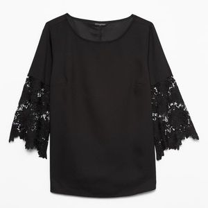 NWT black shirt with lace sleeves from BR